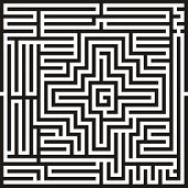 picture of minos  - vector black and white Illustration of a maze and labyrinth - JPG