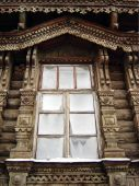 pic of woodcarving  - Window in winter in Russia - JPG