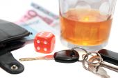 foto of sobriety  - dice and whiskey glass with car keys and cash on white background depicting gambling with drunk driving and addictions can kill - JPG