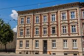 foto of tenement  - Facade of newly renovated stylish tenement in Katowice Silesia region Poland.