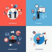 picture of partnership  - Business concept flat icons set of meeting partnership planning conference infographic design elements vector illustration - JPG