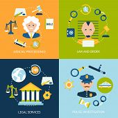 stock photo of tribunal  - Business concept flat icons set of law and order judicial proceedings legal services police investigation infographic design elements vector illustration - JPG