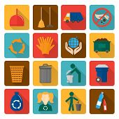 stock photo of trash truck  - Garbage trash cleaning recycling environmental symbols flat shadowed icons set isolated vector illustration - JPG