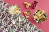 stock photo of condensation  - Bone sugar cookies and condensed milk for children - JPG