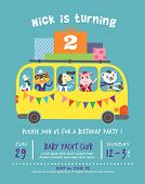 image of bus driver  - Birthday party invitation card - JPG