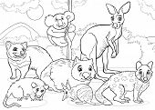 foto of wombat  - Black and White Cartoon Illustrations of Funny Marsupials Mammals Animals Mascot Characters Group for Coloring Book - JPG