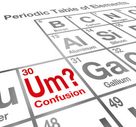 stock photo of periodic table elements  - Um the Element of Confusion words on a periodic table difficult lesson - JPG