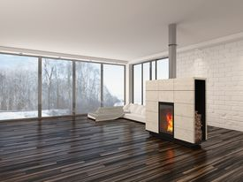 image of insert  - Large spacious empty living room interior with a fire burning in an insert woodburner  - JPG