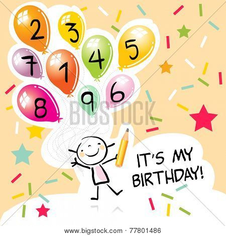 Happy birthday greeting card, party invitation. Colorful balloons, with doodle, line art drawing.