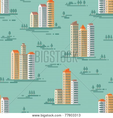 Cityscape - vector background seamless pattern in flat style design. Buildings and trees background.