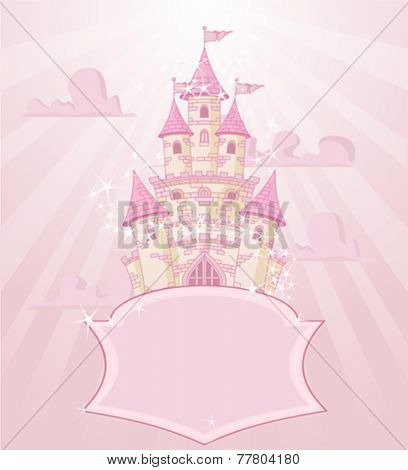 Illustration of fairytale castle with space for text