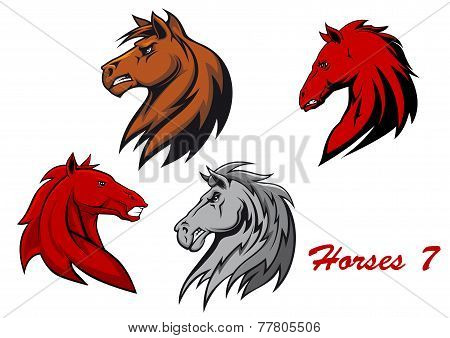 Horse stallions cartoon characters