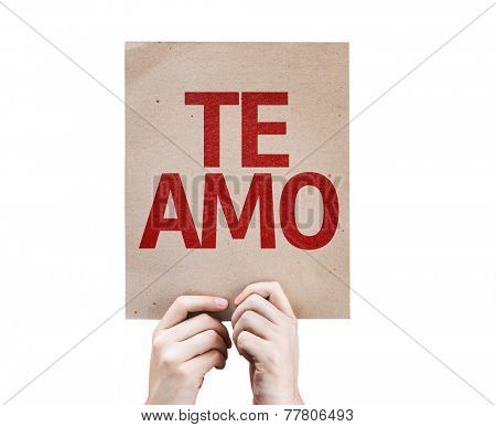 I Love You (In Spanish) card isolated on white background