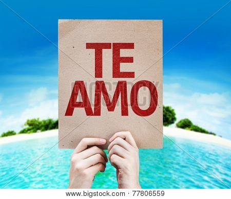 I Love You (In Spanish) card with a beach on background