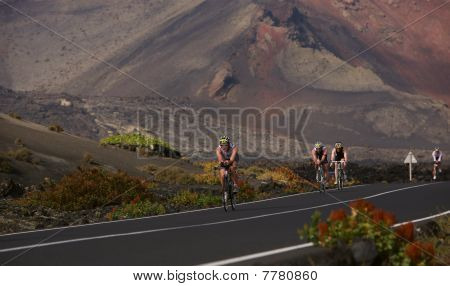 Group Of Cyclists In Ironman