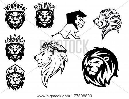 Black and white heraldic lions