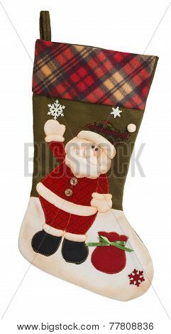 Green And White Empty Stocking With Santa Claus