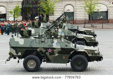 MOSCOW - 6 May 2010: Patrol car. Dress rehearsal of Military Parade on 65th anniversary of Victory in Great Patriotic War on May 6, 2010 on Red Square in Moscow, Russia