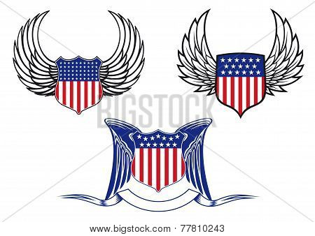 American shields with angel wings