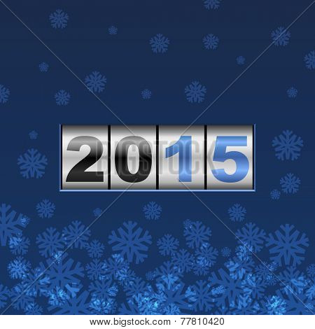 Blue counter 2015 year card with snowflakes.