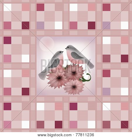 Seamless Retro Textile Checkered Texture Pastel Colors And Bullfinches Pattern Background