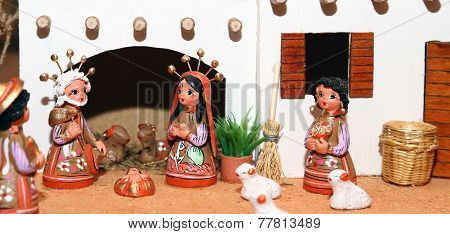 Nativity Scene With Holy Family Mexican Style
