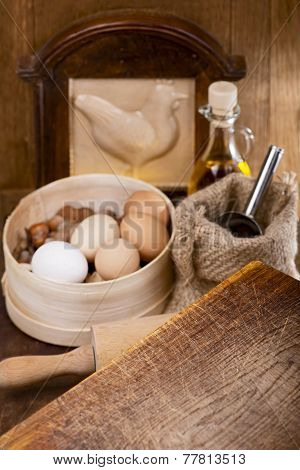 kitchen still life with eggs