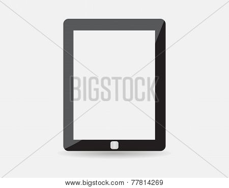 High quality vector illustration of modern technology device - computer tablet with blank white scre