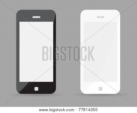 Two realistic smartphone concept - black and white with blank screen. Highly detailed responsive rea