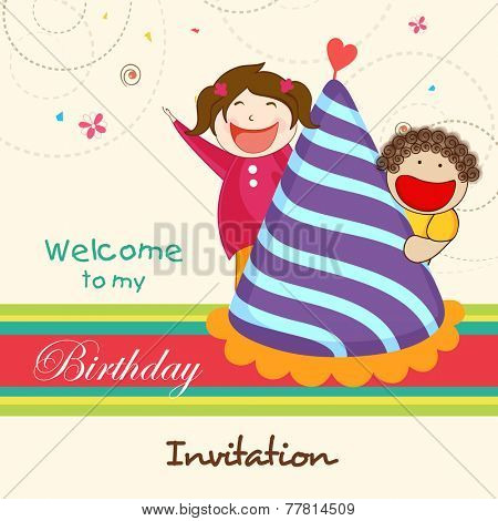 Kids birthday celebration Invitation card with cute and happy kids escaping behind birthday cap.