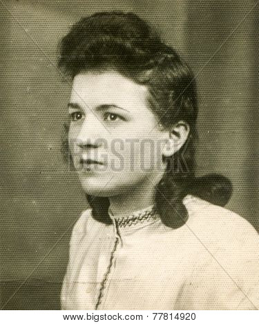 GERMANY, CIRCA 1940s: Vintage photo of young woman