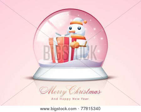 Cute snowman in Santa cap and scarf with gift box in a snow dome for Merry Christmas and Happy New Year celebrations.