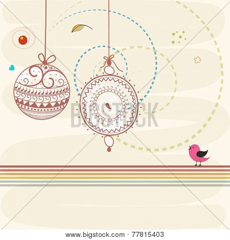 Beautiful floral design decorated X-mas Balls and little bird on stylish background for Happy New Year and Merry Christmas celebrations.
