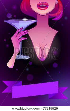 Beautiful Woman With Glass Of Cocktail. Sexy