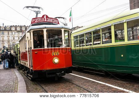 The red historic tram in Turin