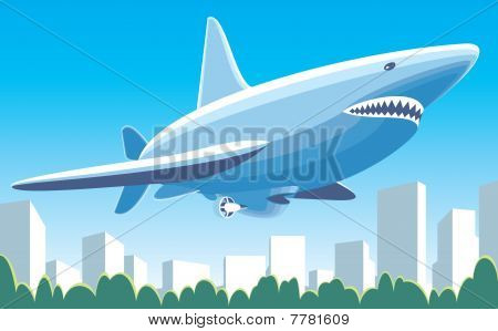 Fantastic dirigible-shark