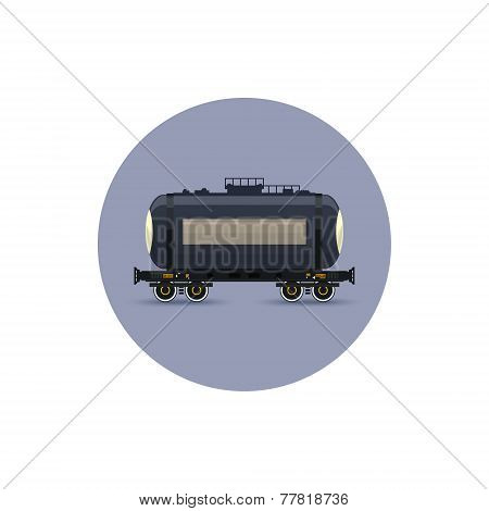 Icon  Railway Car The Tank For Transportation  Freights,  Vector Illustration