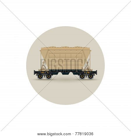 Icon  Hopper Car  For Transportation  Freights,  Vector Illustration