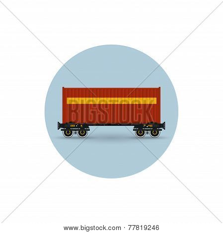 Icon Colored  The Container On A Railway Container Platform,  Vector Illustration