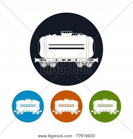 Icon  Railway Car The Tank , Vector Illustration