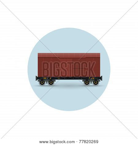 Icon Of The Covered Freight Car,  Vector Illustration