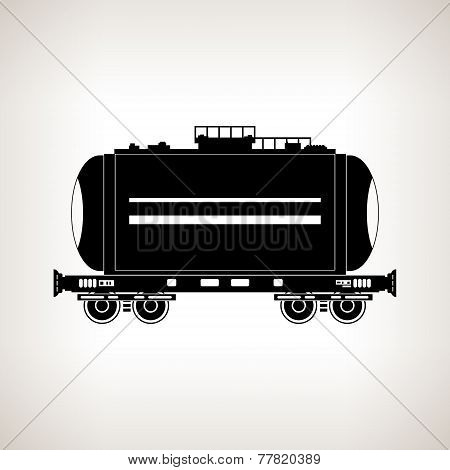 Silhouette Tank Car On A Light Background, Vector Illustration