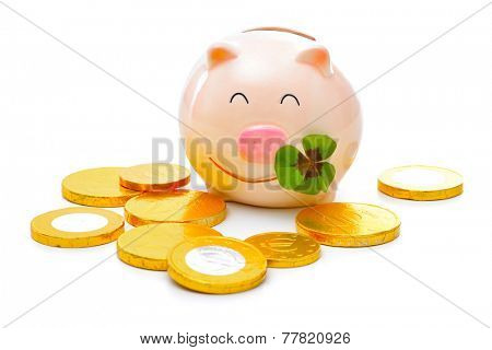 Four-leafed clover and piggy bank with money