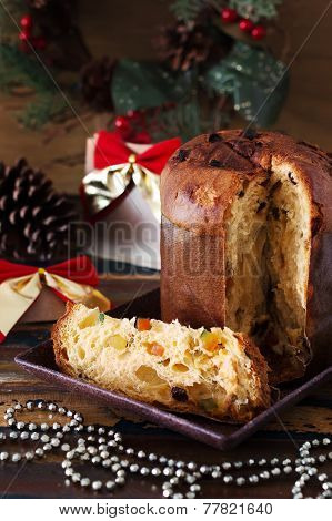 Panettone - Sweet Bread Loaf Traditional For Christmas And  New Year