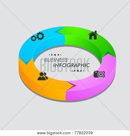 Business infographic colorful 3D pie chart with 2.0 web icons on grey background.