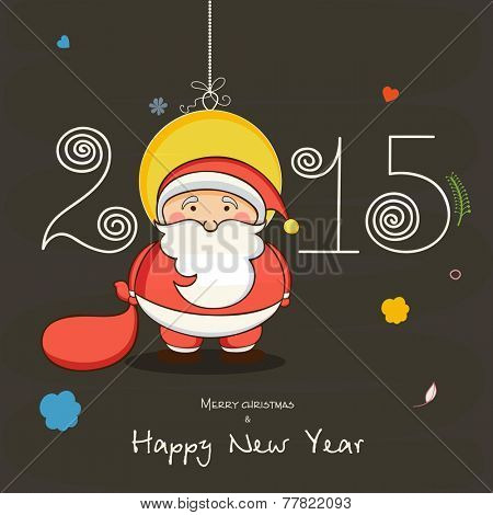 Merry Christmas and Happy New Year celebrations with cute Santa Claus, X-mas Ball and stylish text 2015.