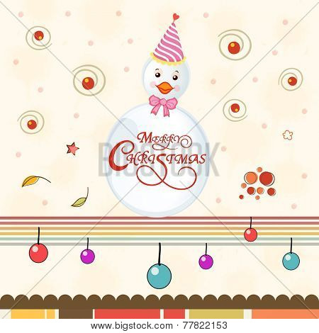 Cute snowman in cap with wishing text on colorful balls decorated background for Merry Christmas celebrations.