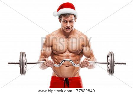 Muscular Bodybuilder Santa Claus Doing Exercises With Dumbbells Over White Background