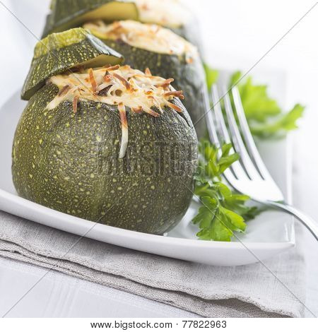 Stuffed Round Courgettes With Grated Cheese