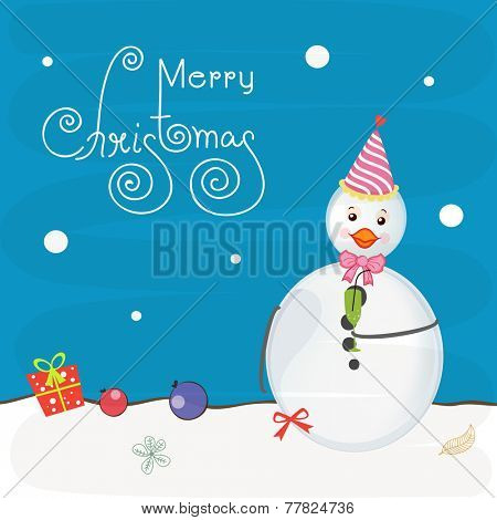 Cute snowman in cap and bow with gift and X-mas Balls on blue and white background for Merry Christmas celebrations.